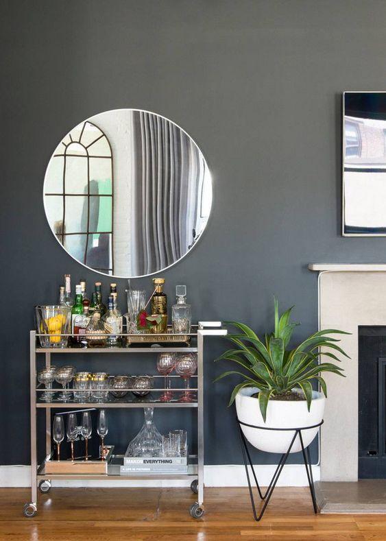 home bar ideas with bar cart and mirror