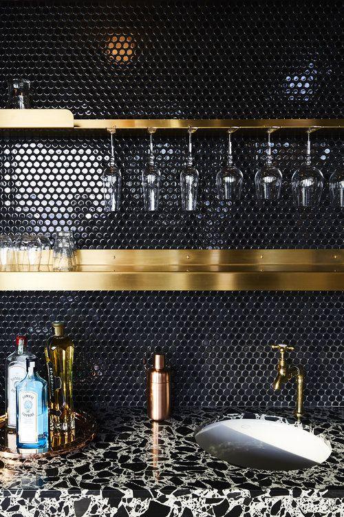 black tile home bar