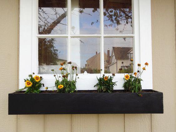 black white minimal window box ideas