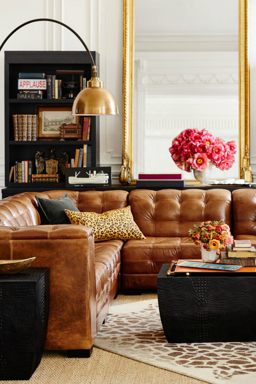 brown and gold living room
