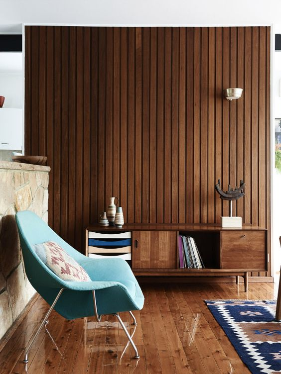 wood panelling and teal pop