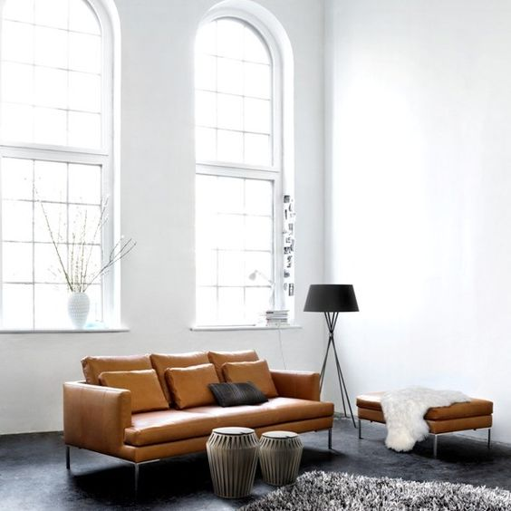 brown and white living room