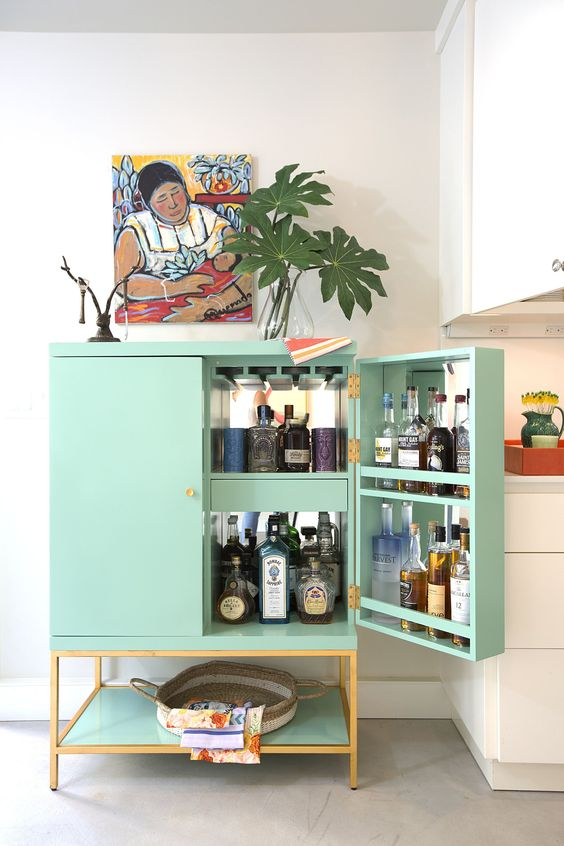 colourful drinks cabinet