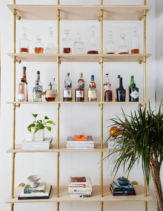 copper piping home bar shelving