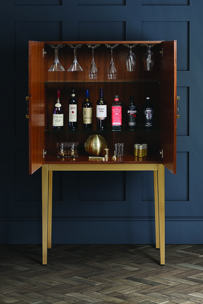 home bar ideas featuring an elegant drinks cabinet