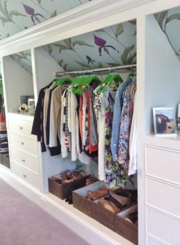 loft storage ideas with wallpaper