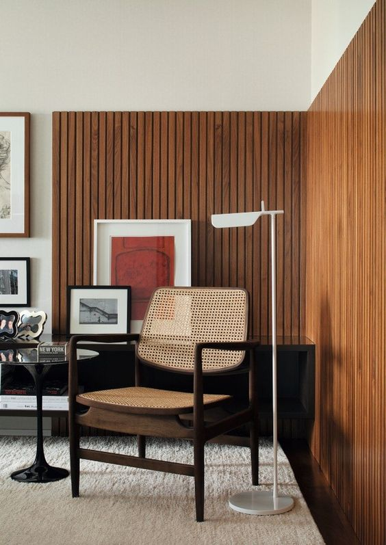 midcentury brown living room