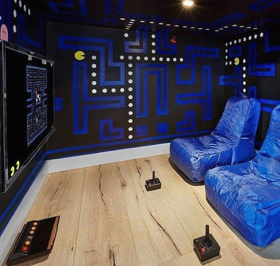 pacman wall feature in gaming room