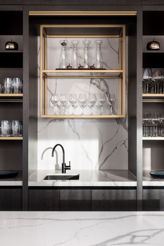 sophisticated small wet bar