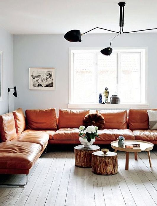 brown living room ideas - the leather sofa