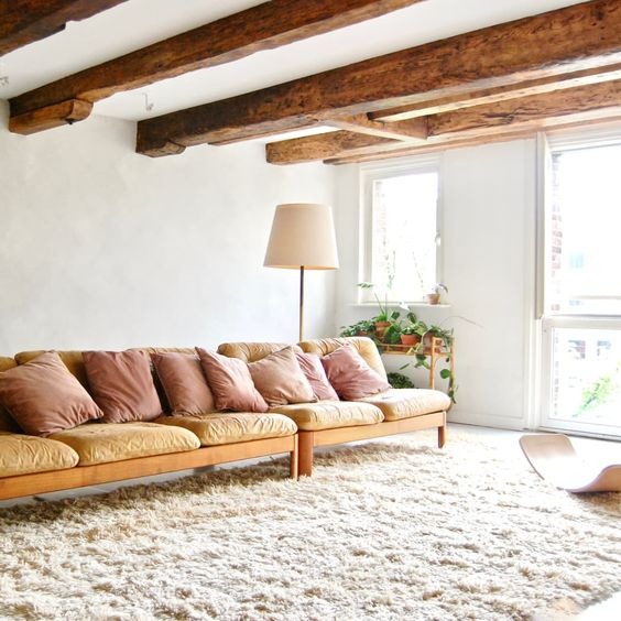 timber beams for brown living room ideas