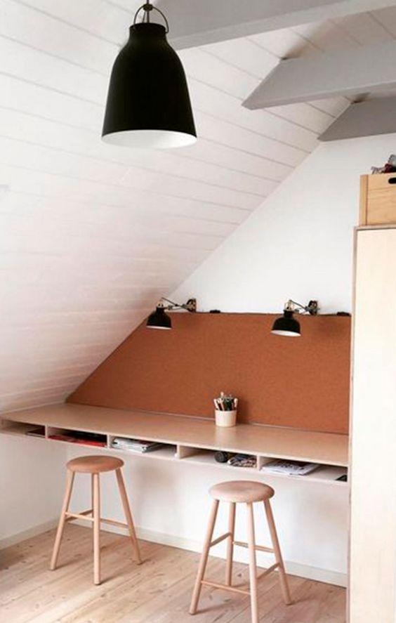 loft storage ideas with corner desk
