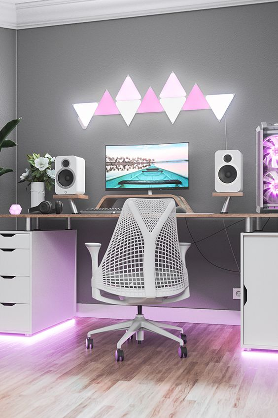 white and pastel gaming room