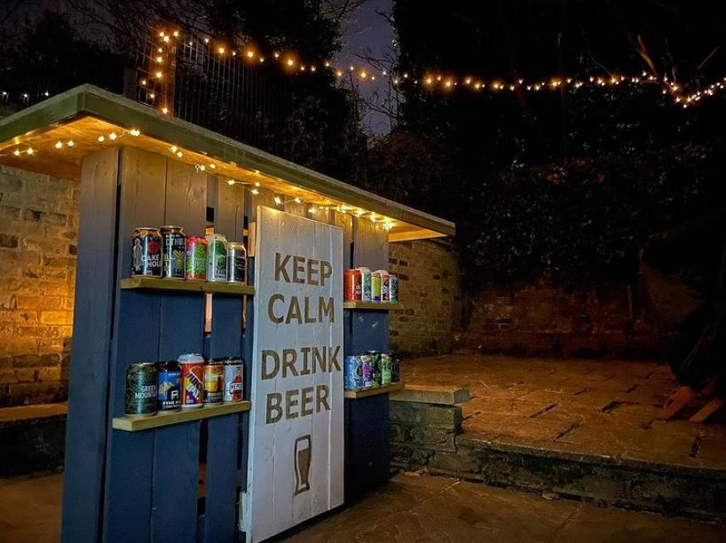 Garden bar with fairy lights