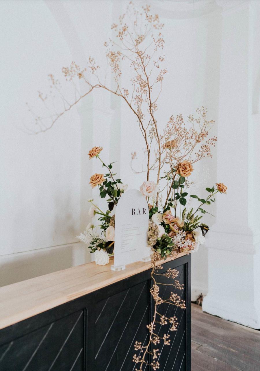 Modern wedding bar at wedding