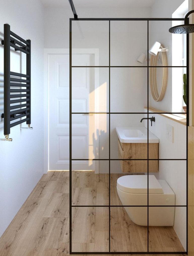 modern black shower screen