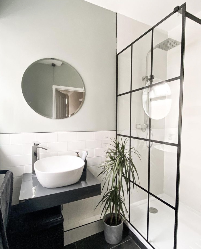 shower room with plants