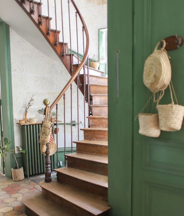 Rustic timber banister