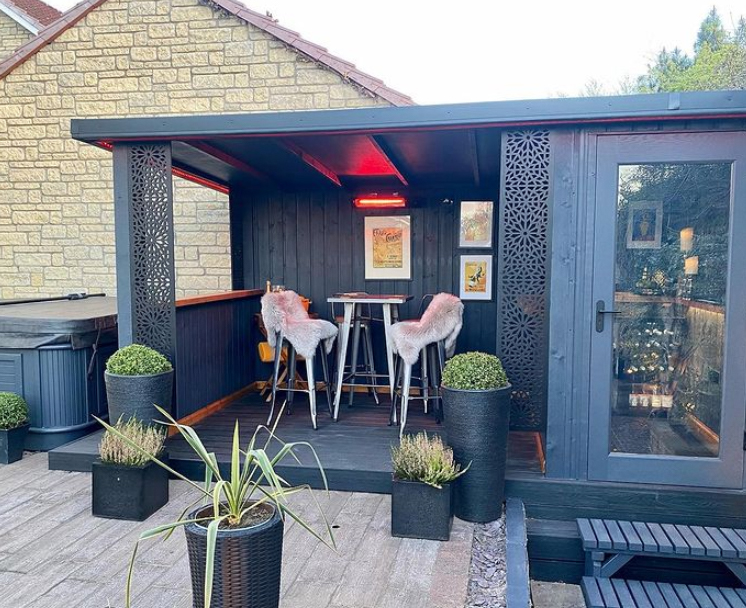 Custom built garden bar with patio