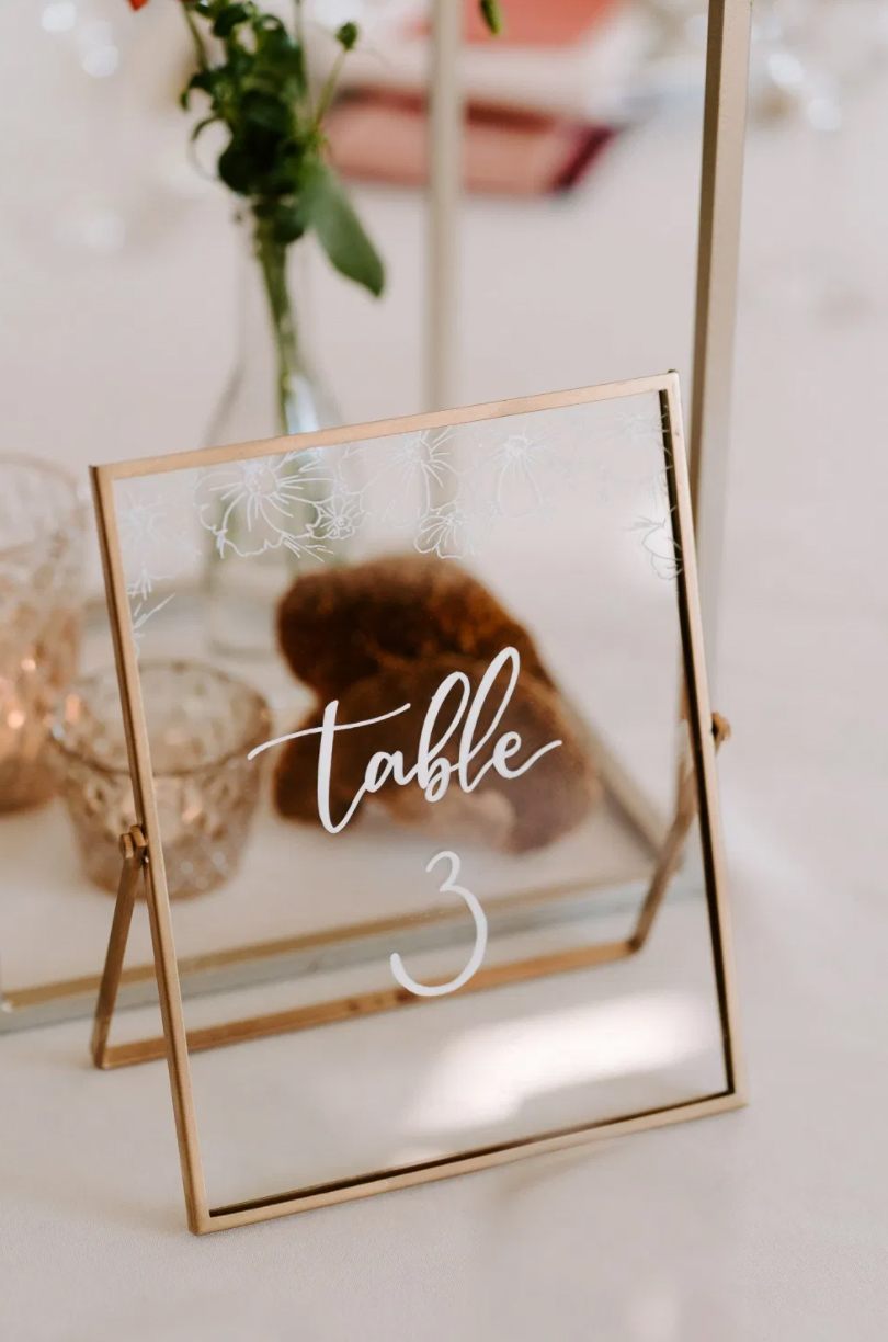 Chalk ink calligraphy table numbers for wedding