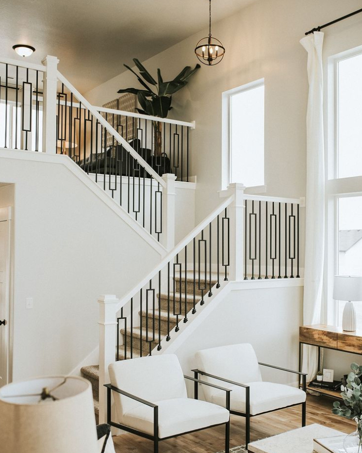 mid-century staircase and banister design