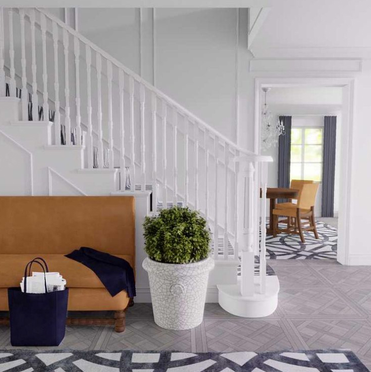 All white staircase and banister