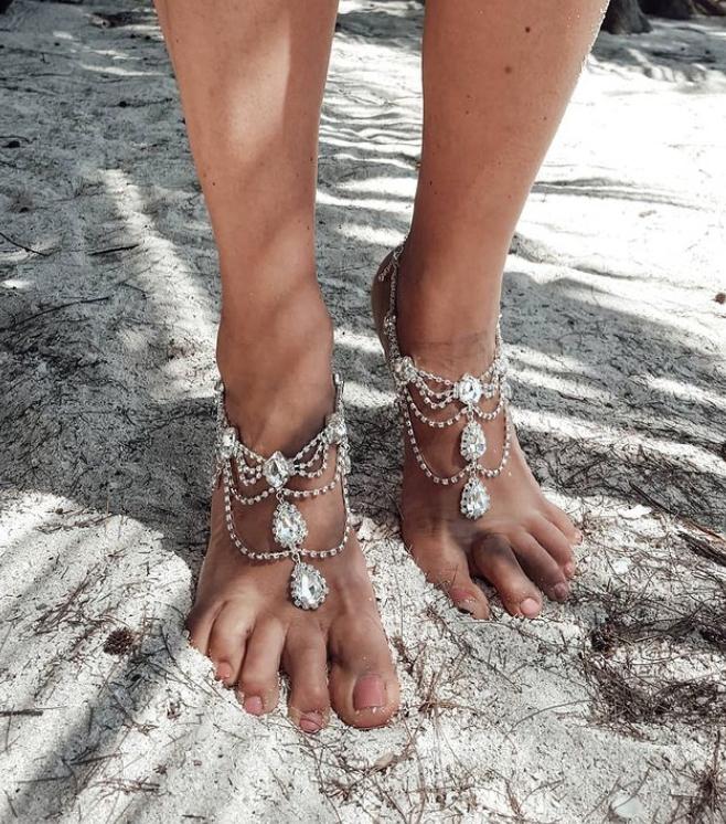 Bride wedding beach feet jewels