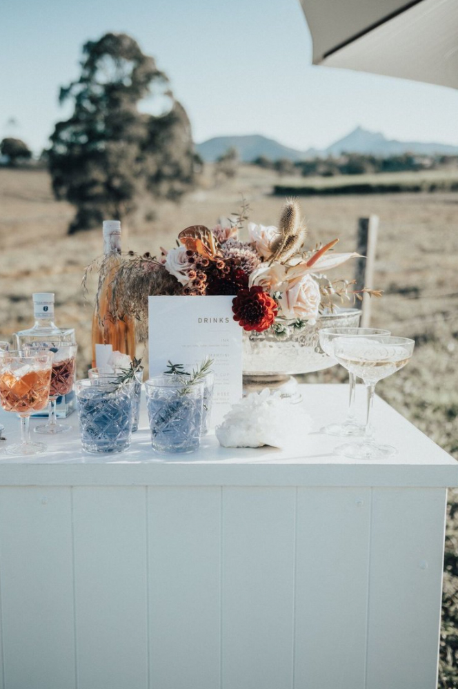 cocktail station at wedding