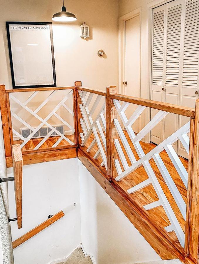 Geometric pattern on banister
