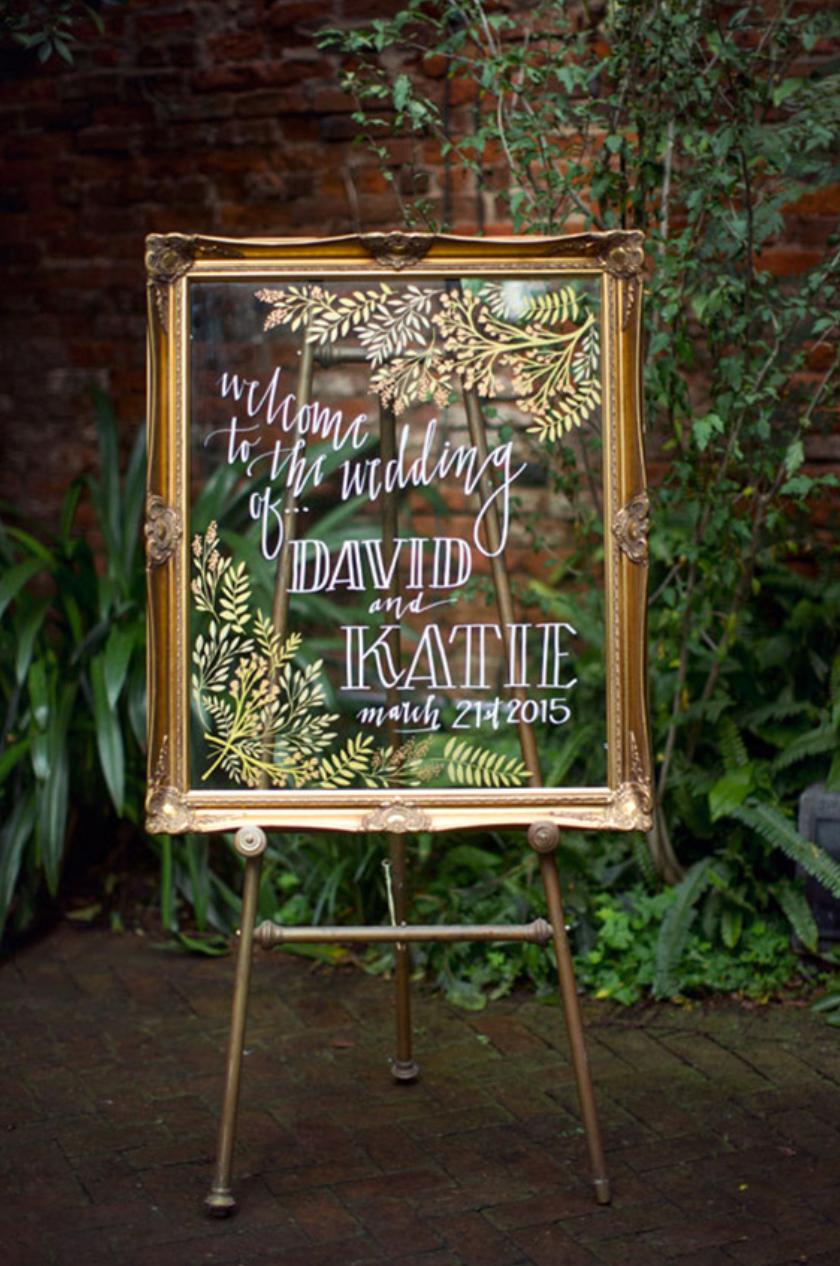 Vintage gold frame sign at wedding