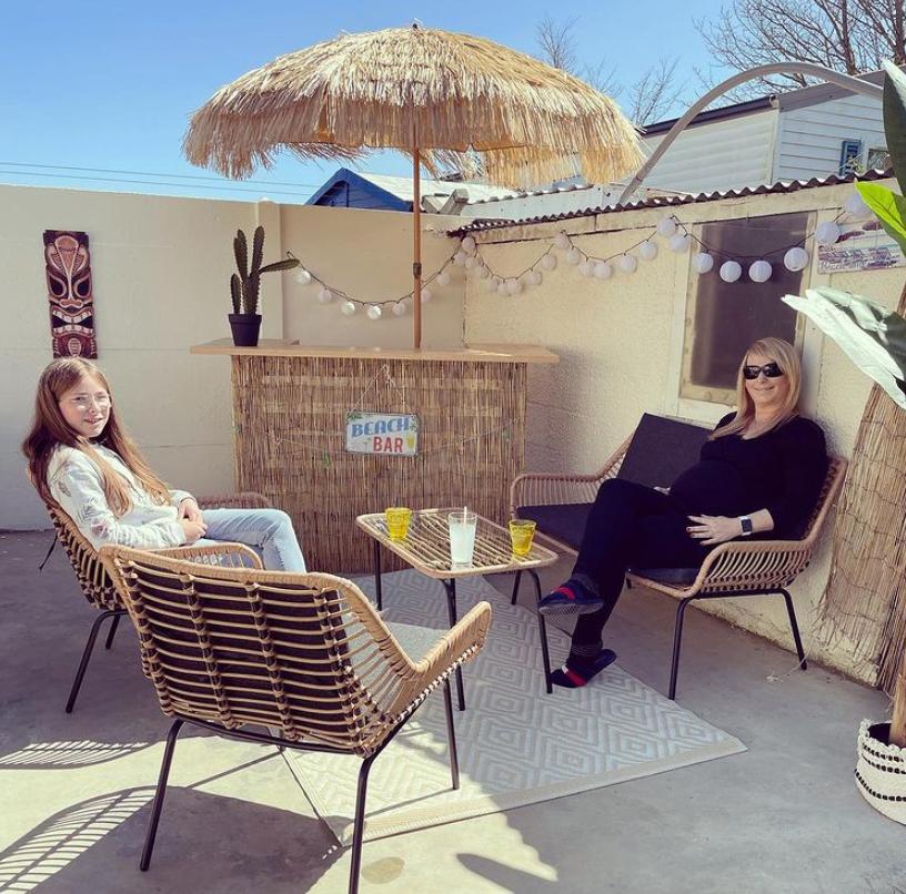 Tiki bar on terrace outdoors