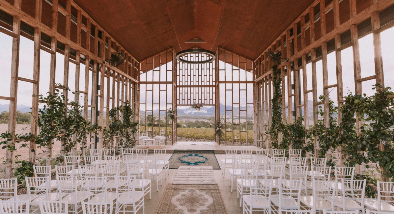 Wedding ceremony in mountain country area