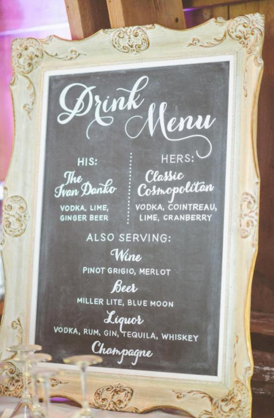 Chalkboard drinks menu