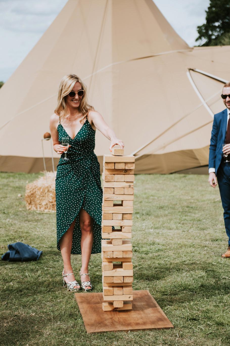 giant jenga at wedding