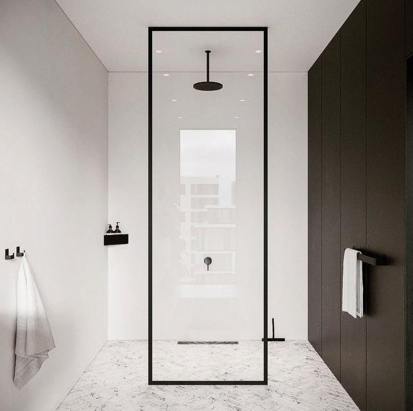 black and white shower room modern