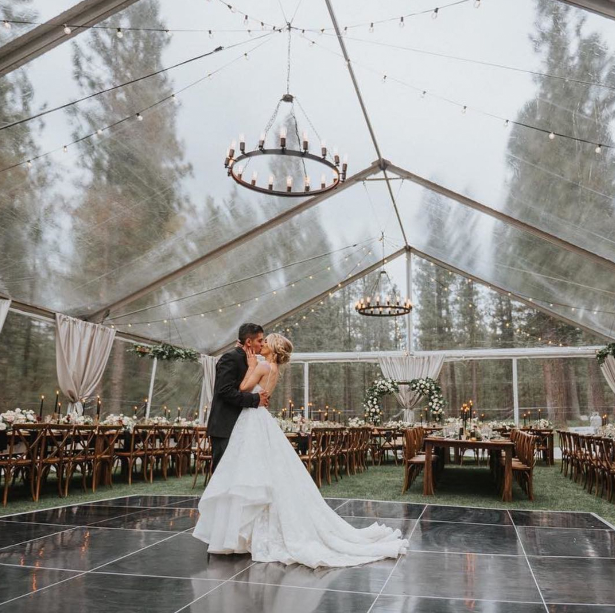 Clear marquee at wedding reception