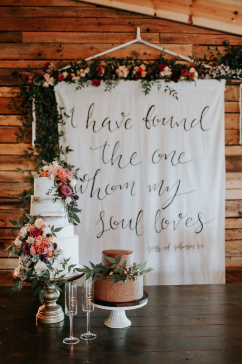 hand painted quote for wedding ceremony