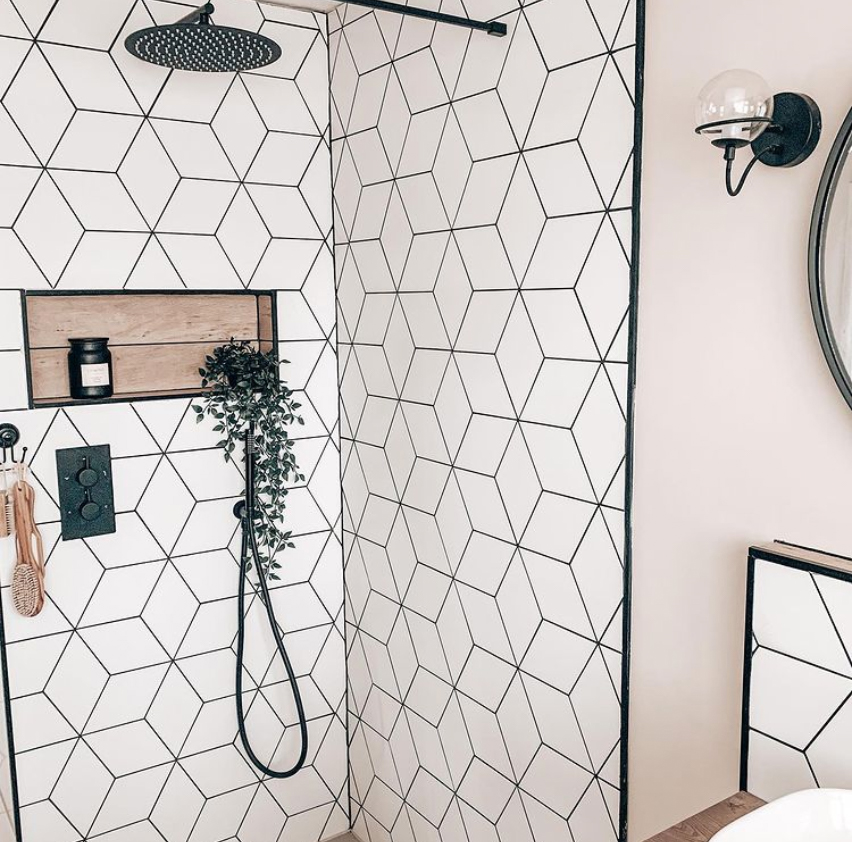 shower with a feature geometric tile