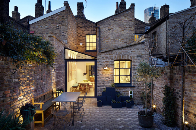 brick and glass side kitchen extension
