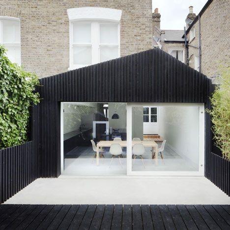 high contrast kitchen extension exterior