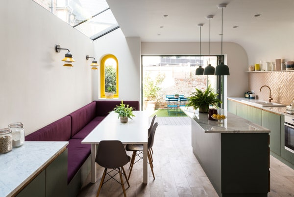 playful colour in kitchen extension interior