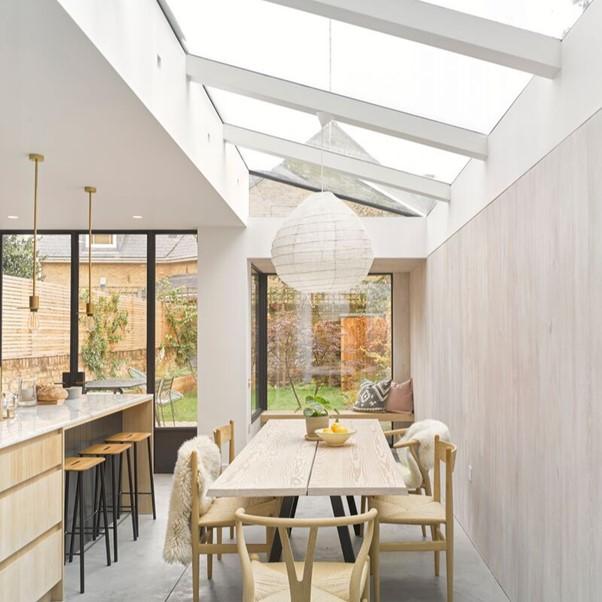 white steel kitchen extension