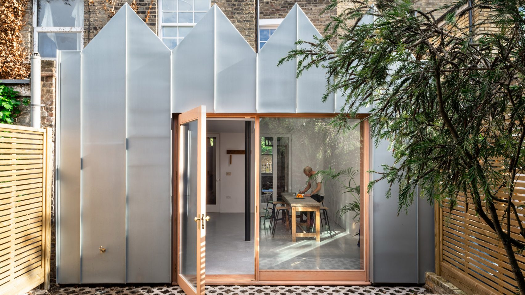 zigzag zinc facade of kitchen extension