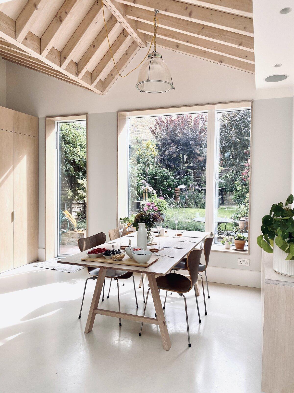 zigzag roof interior of kitchen extension