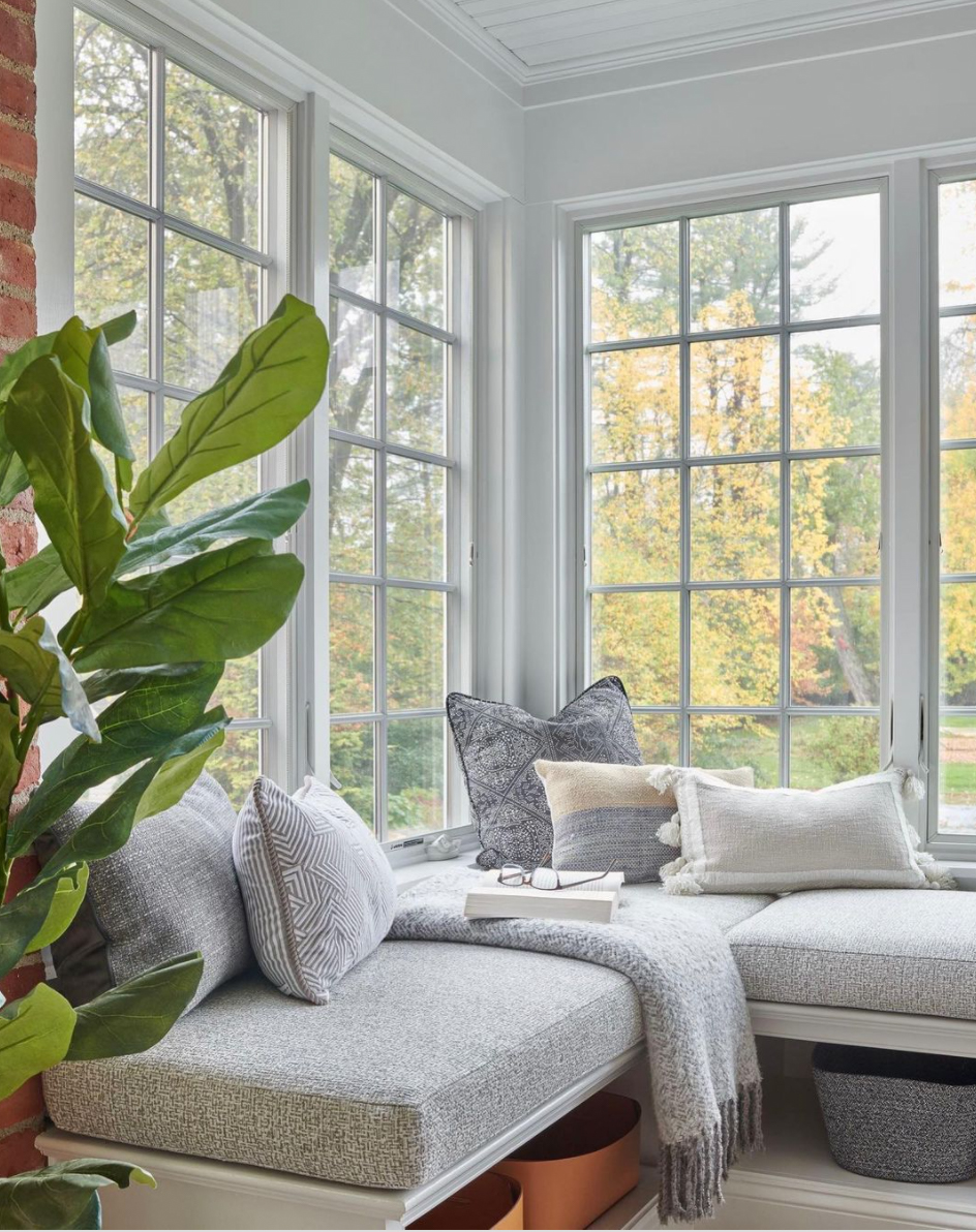 Sunroom with upholstered bench seating