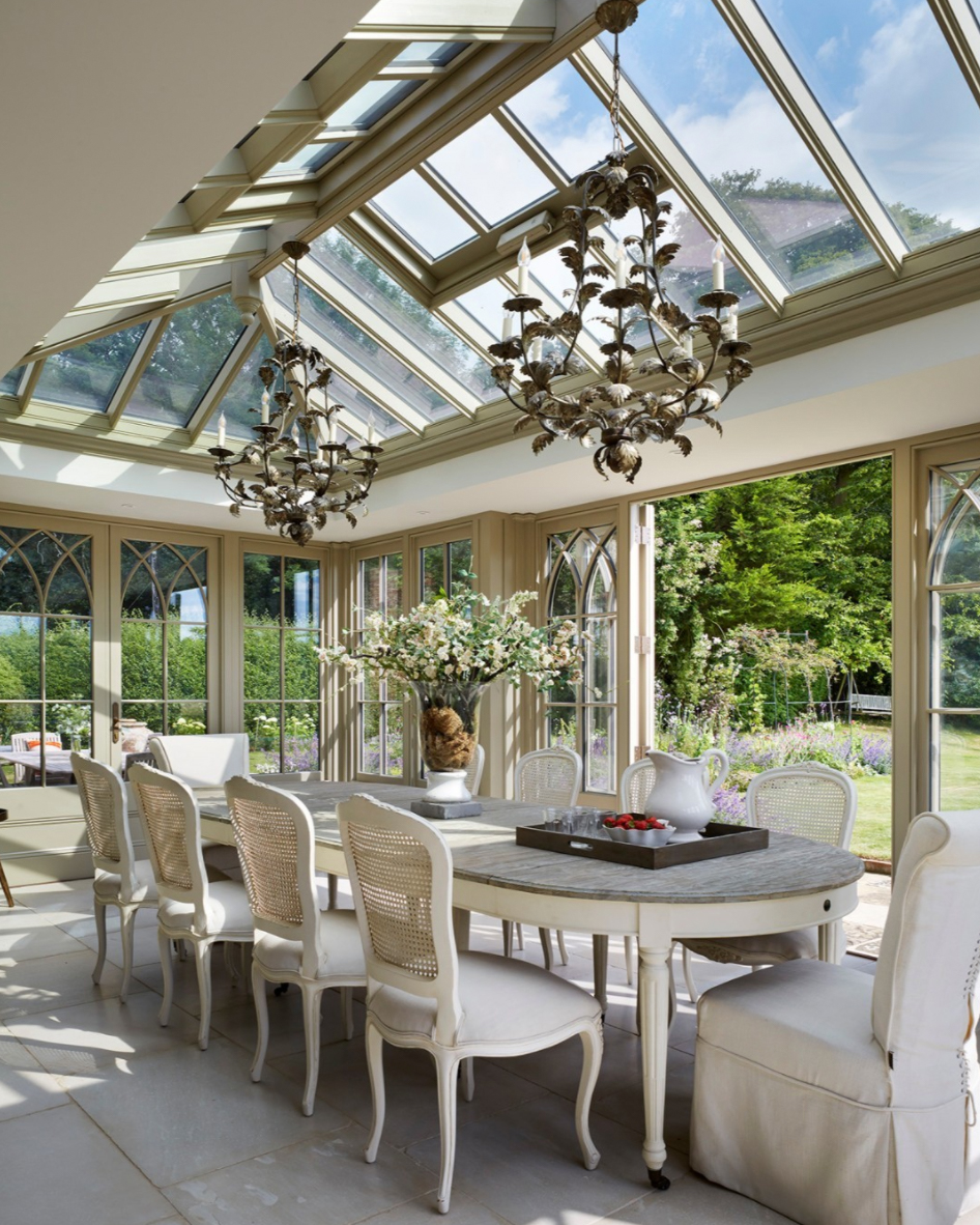 large high pitched sunroom