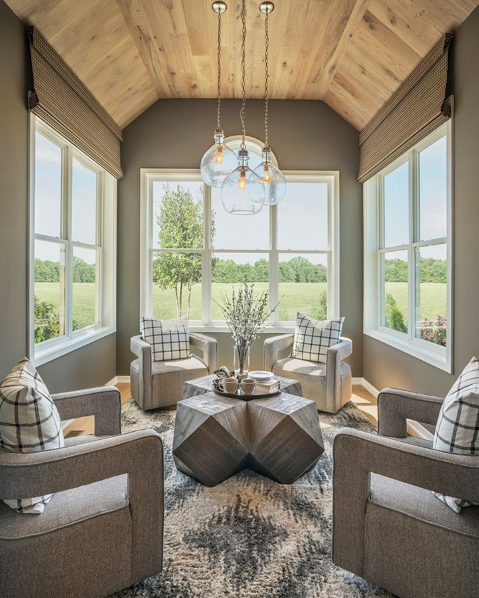 Timber ceiling in a sunroom