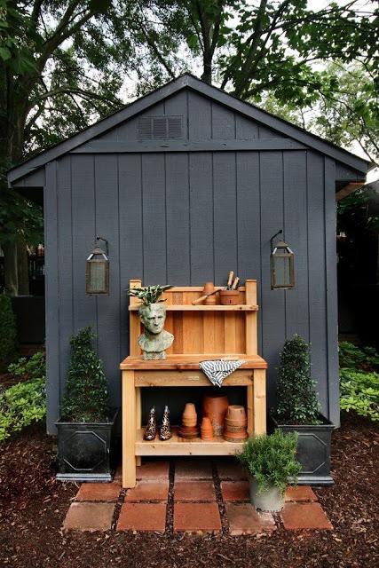 black-garden-shed-with-cedar-potting-bench-Bench-Black-cedar