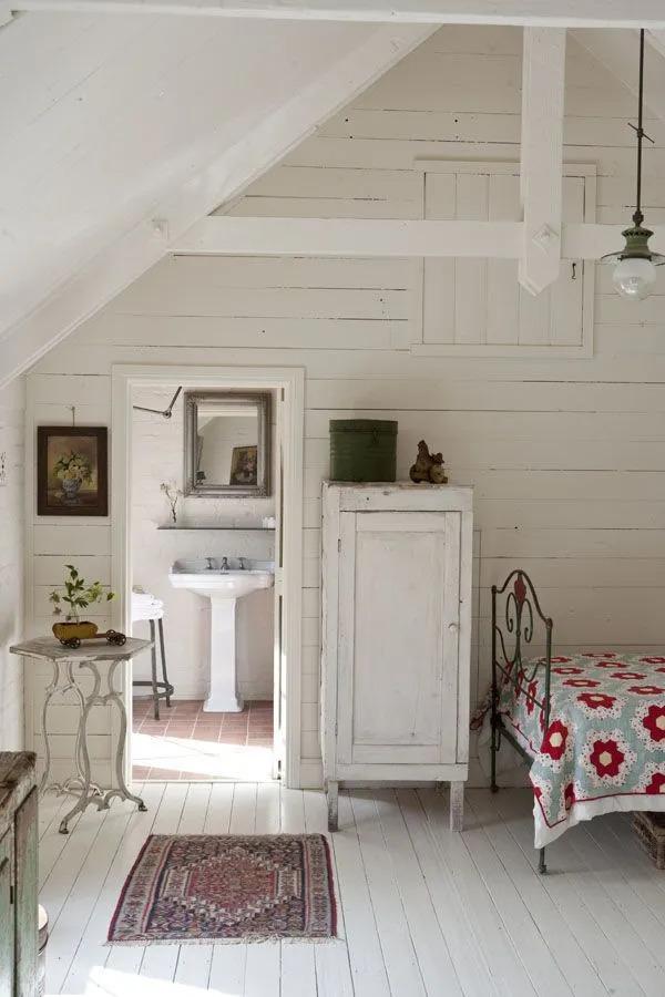 vintage farmhouse furniture in white
