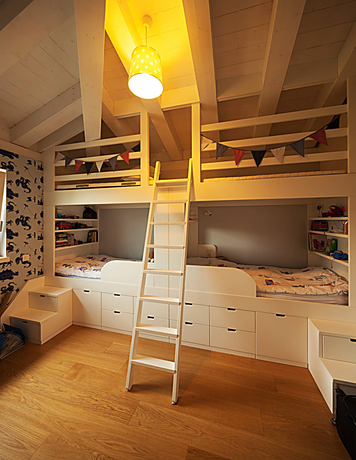 kids themed bedroom with loft bed
